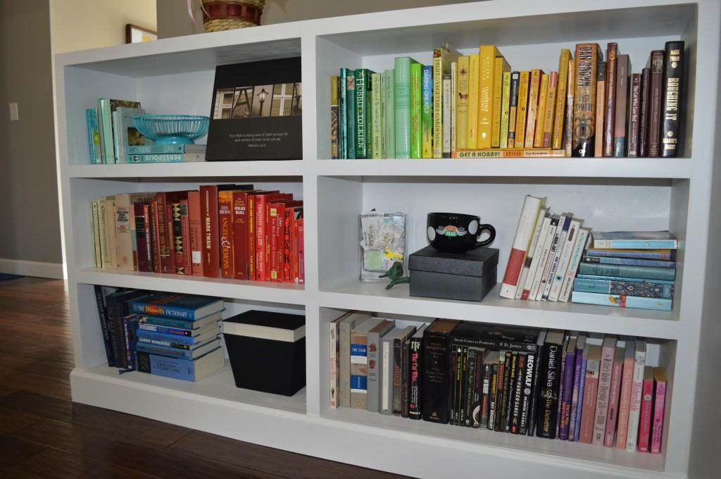 Rainbow Colored Bookshelves Arrangement