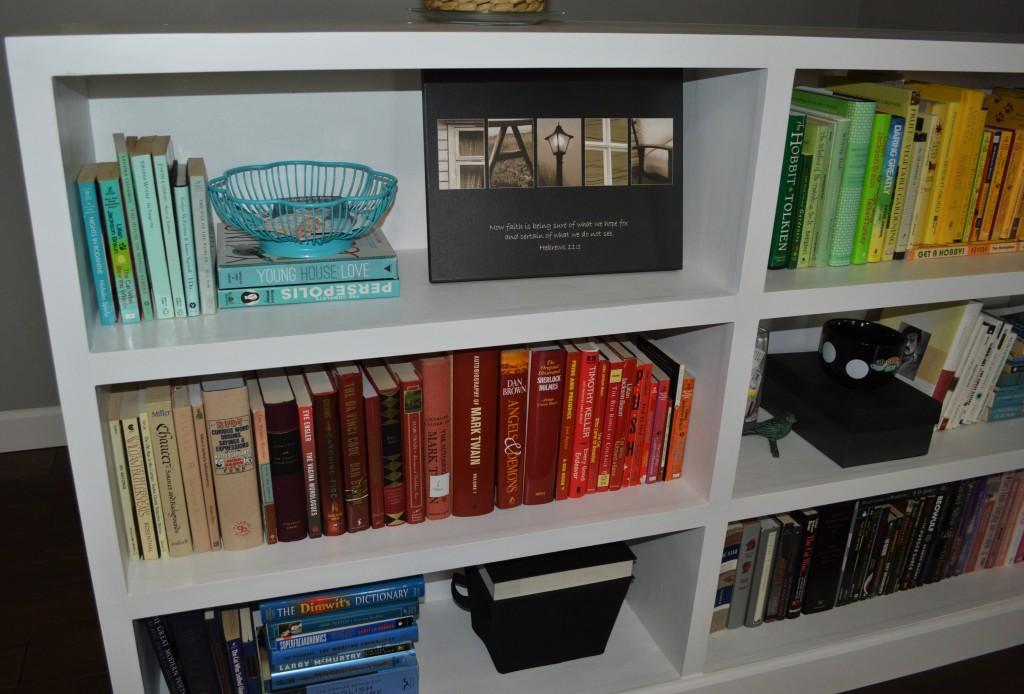 Rainbow Colored Bookshelves Arrangement 3