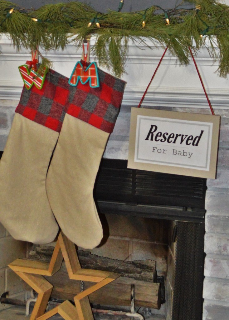 Reserved for baby stocking sign
