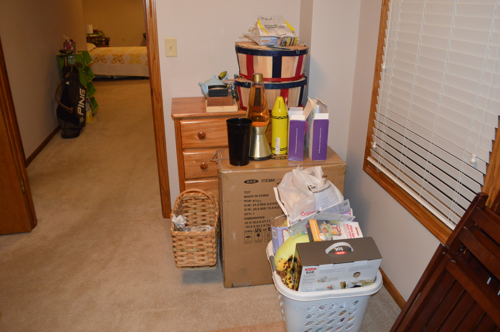 Basement Guest Room Full of Baby Stuff