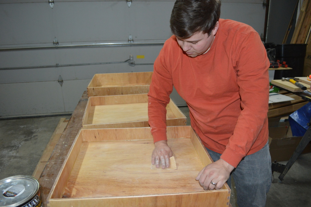 Final Sanding of Pantry Drawers