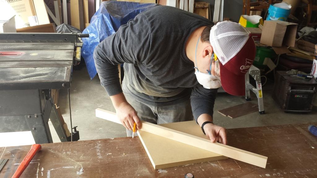 Building Corner Nook Shelves Cutting 6