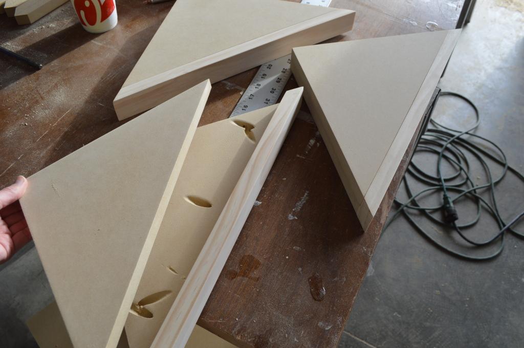 Building Corner Nook Shelves MDF and Pine Construction 2