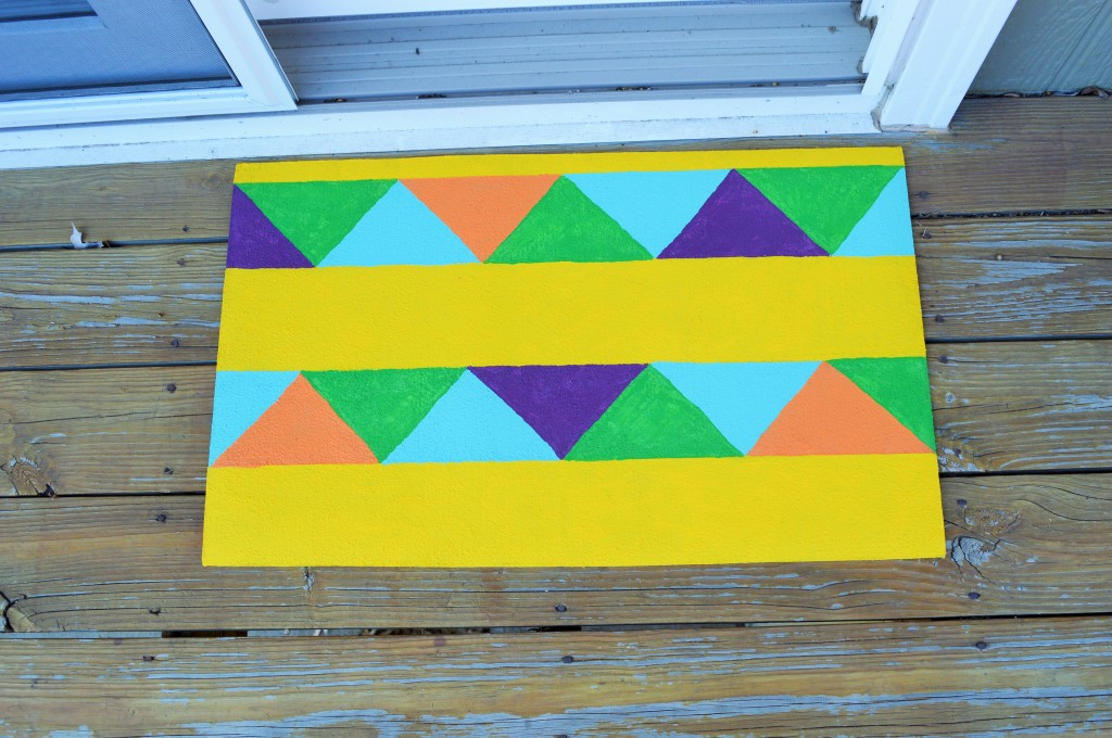 DIY Painted Geometric Rug 2