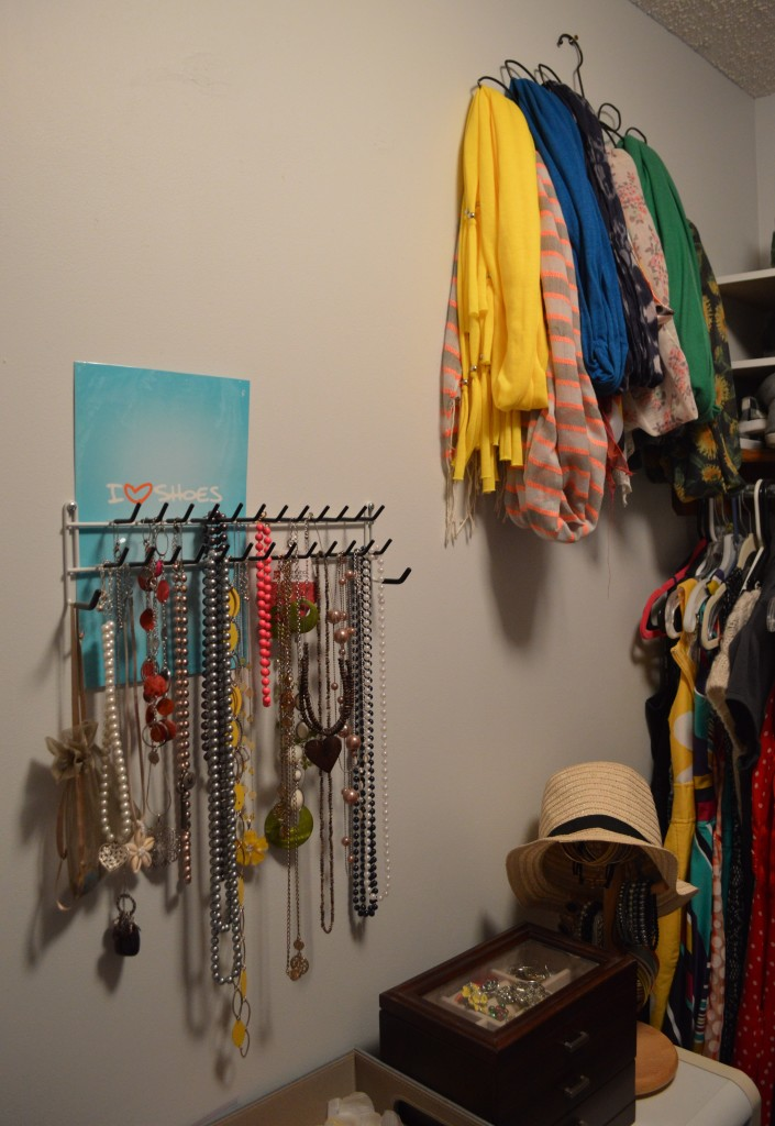 Scarves Hanging in Closet