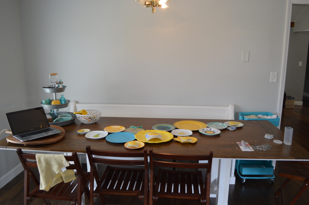 DIY Kitchen Plate Wall Prep