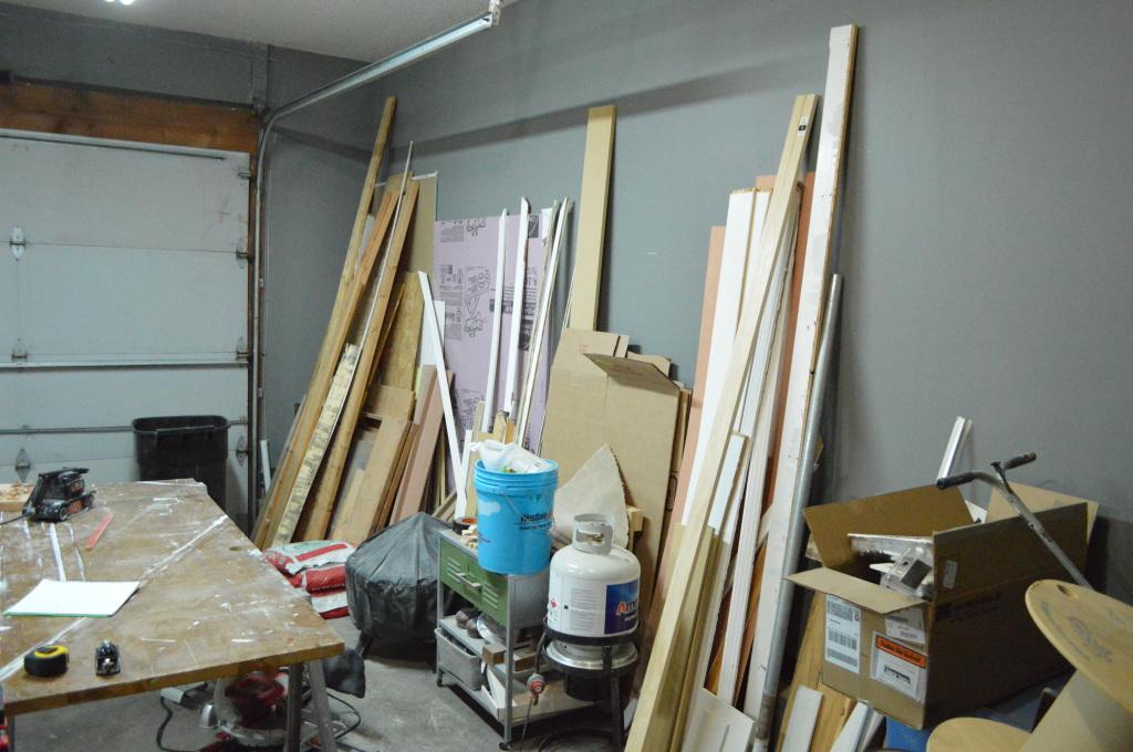 Garage mess before scrap wood