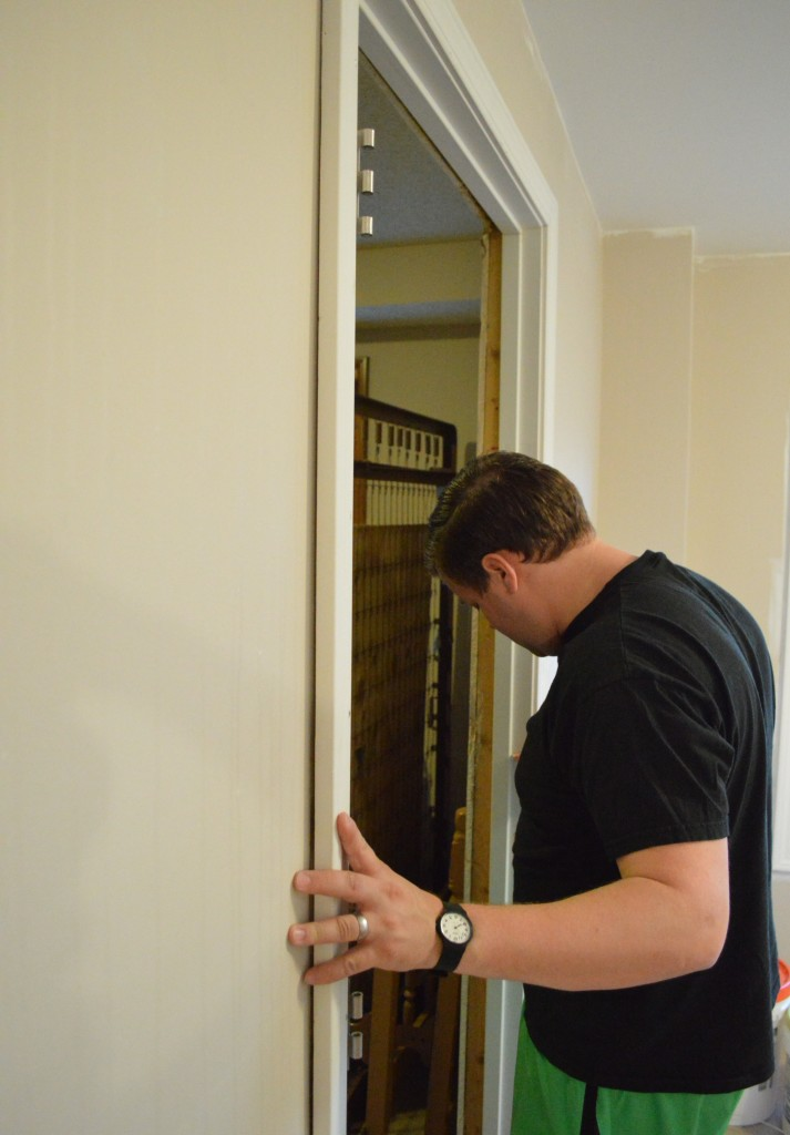 Pre-hung door jam installation 7