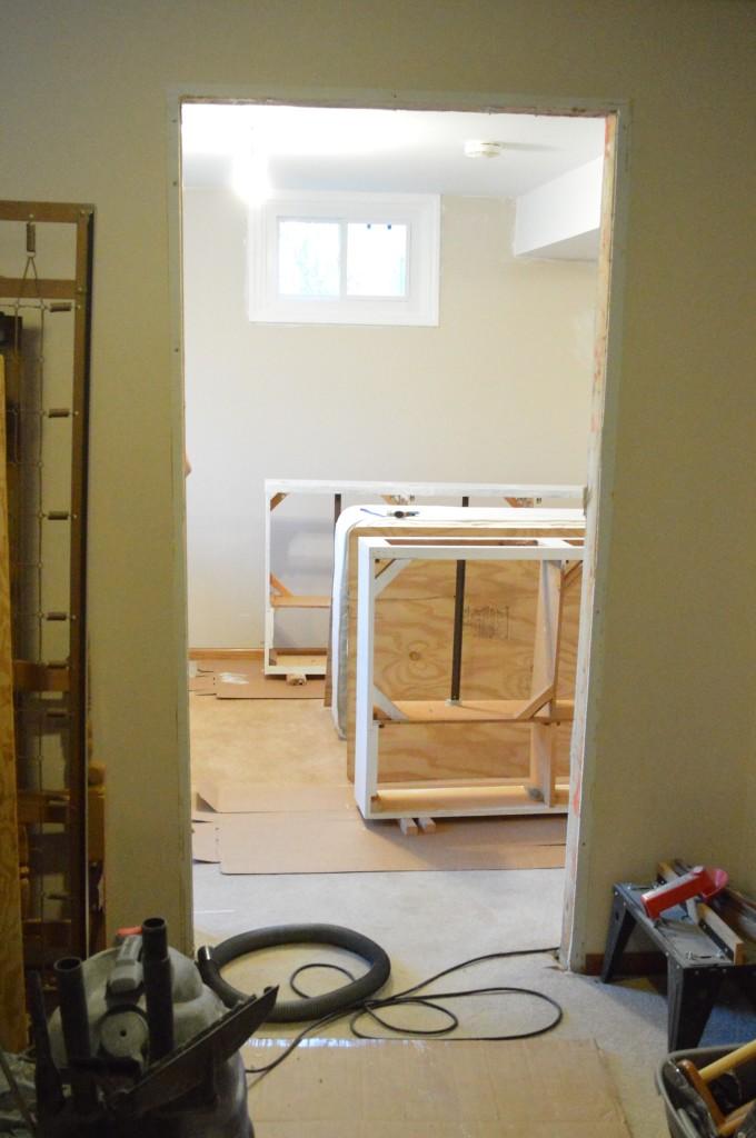 Pre-hung door jam installation Before
