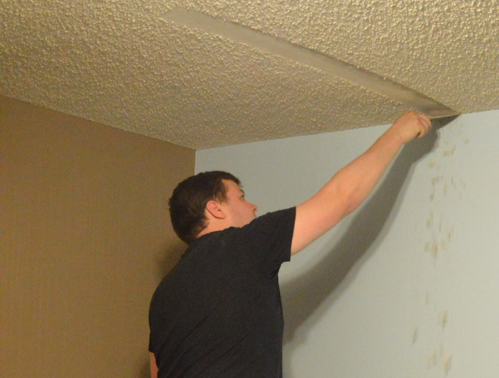 Removing Popcorn Ceiling DIY Nursery