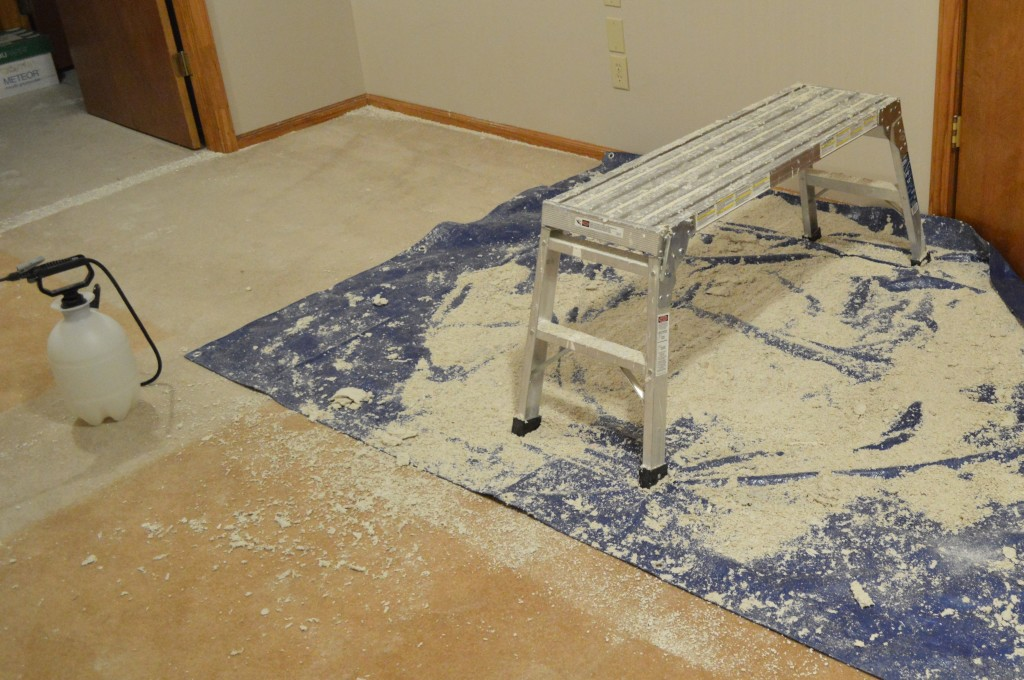 Removing Popcorn Ceilings Guestroom Mess
