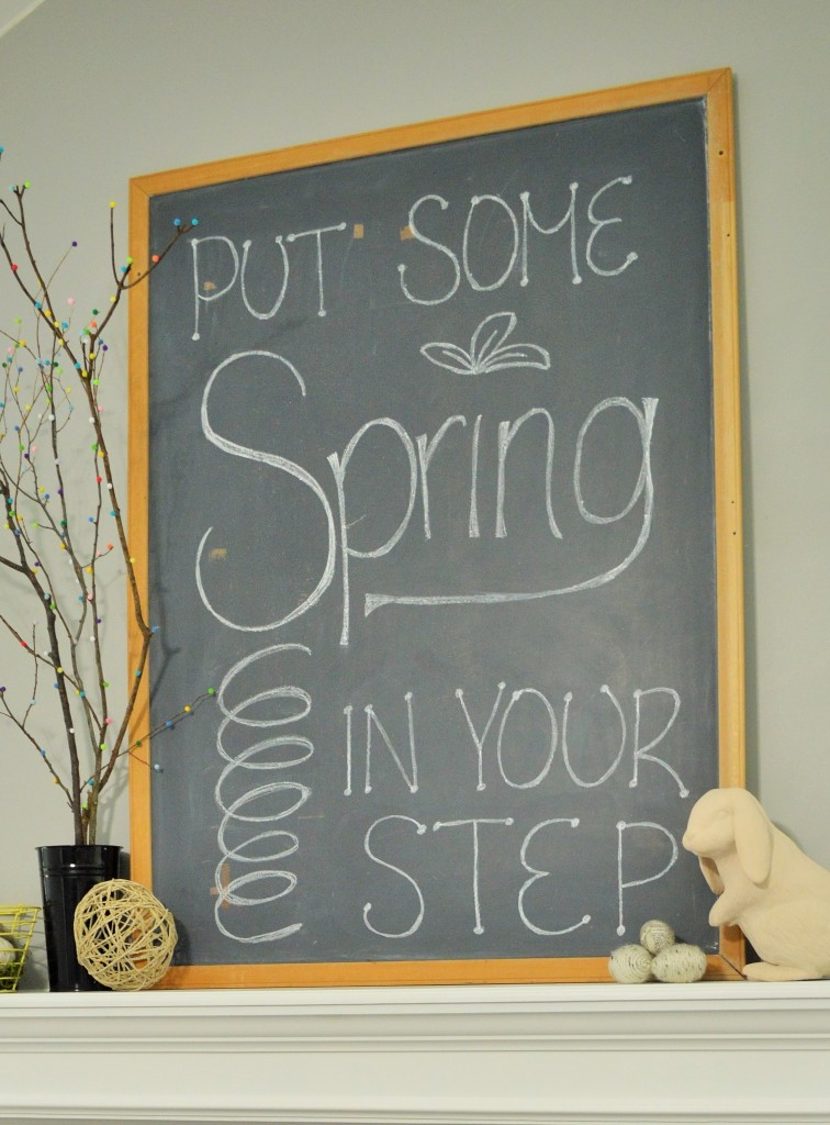 Spring Mantle Chalkboard Quote