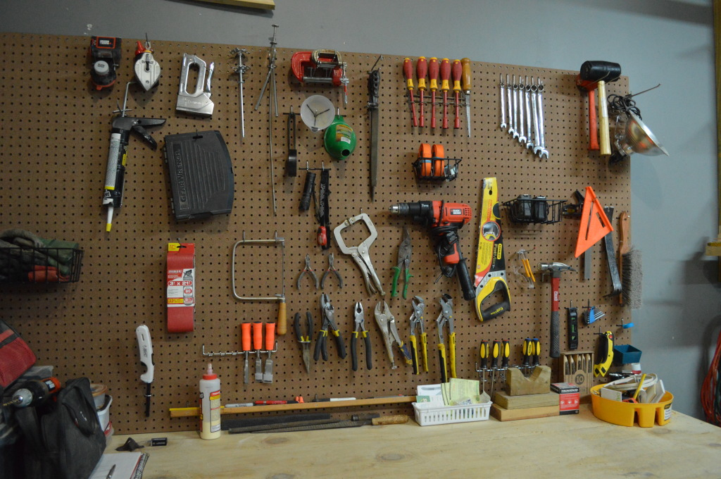 Garage Organization Progress Pegboard