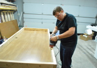 Building Headboard Frame On Old Door Sanding