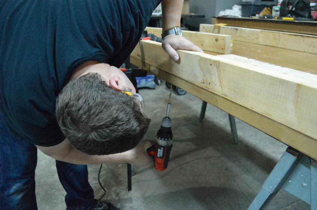 Building Headboard Frame On Old Door Sanding 6