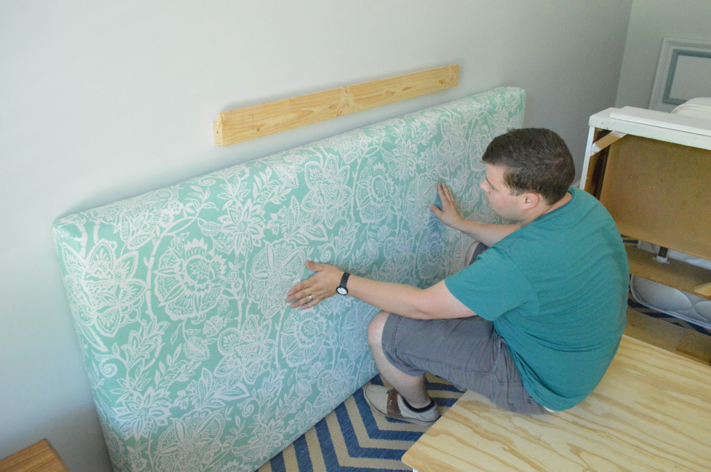 DIY Upholstered Headboard Wooden Cleat Installing on Wall 2