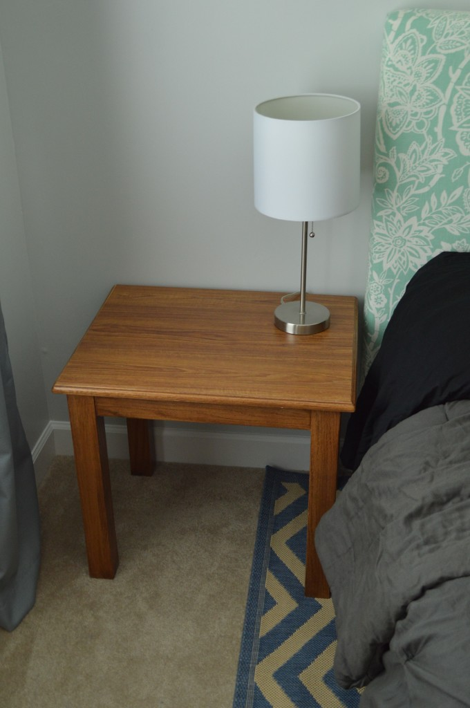 Guestroom nightstand and lamp