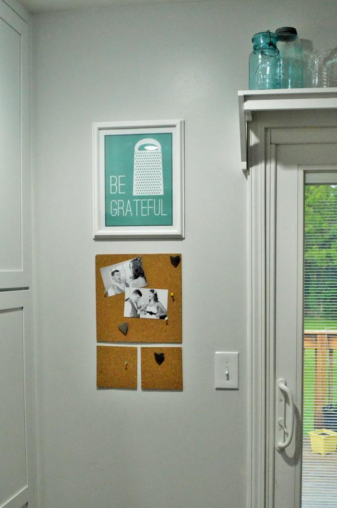Kitchen Decor Be Grateful Print and Cork Board Photos