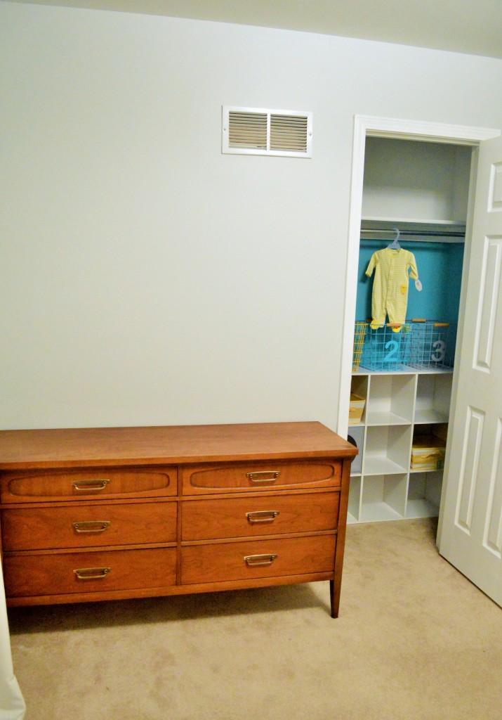 Nursery Closet Painted with Dresser