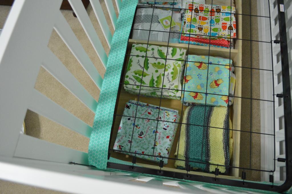 Crib Skirt Attaching to Rails Above Drawer