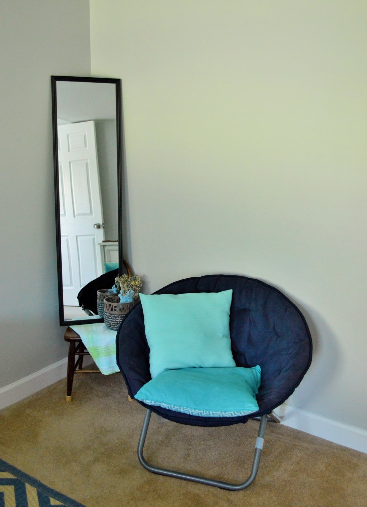 Guest Room Mirror and Chair Decor