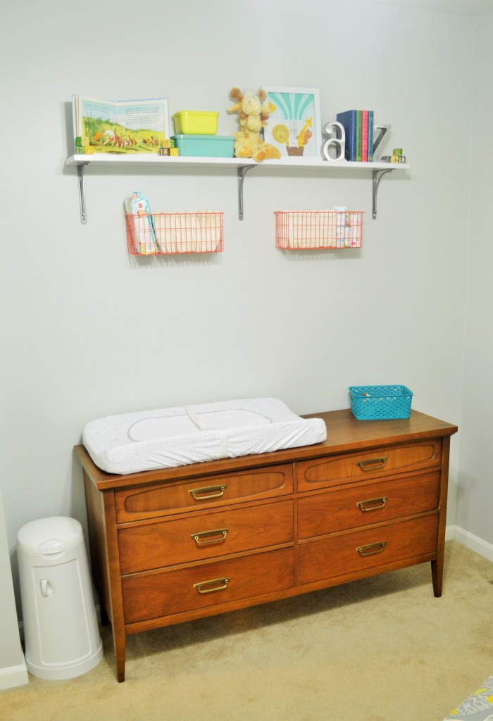 Nursery Changing Area Dresser and Wall Shelves 2