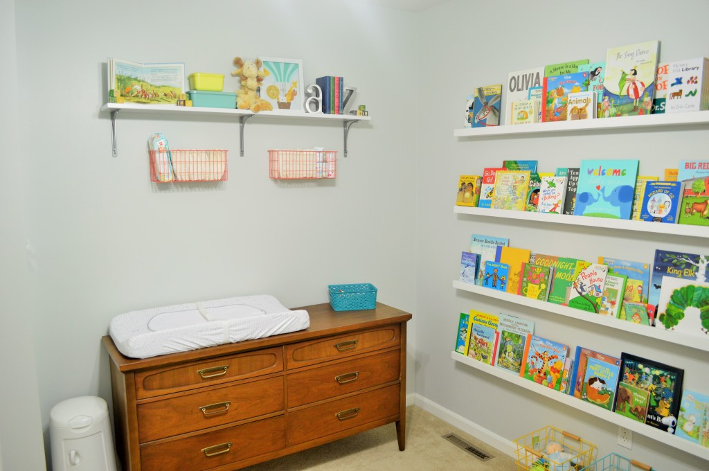 Nursery Changing Area Dresser and Wall Shelves 3