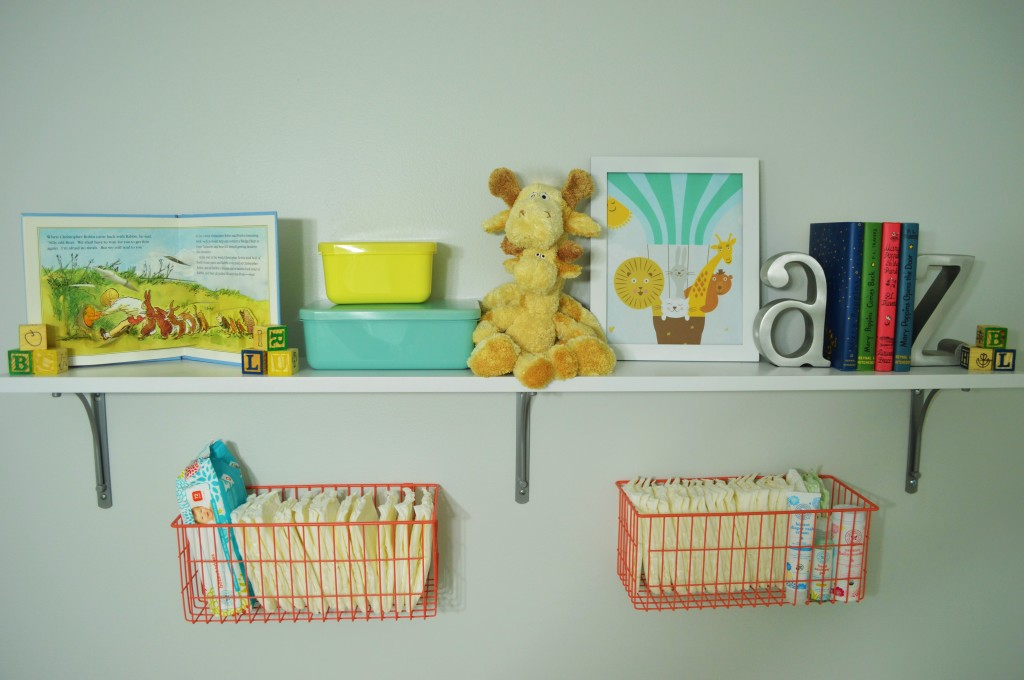 Nursery Changing Area Shelves and Baskets 2