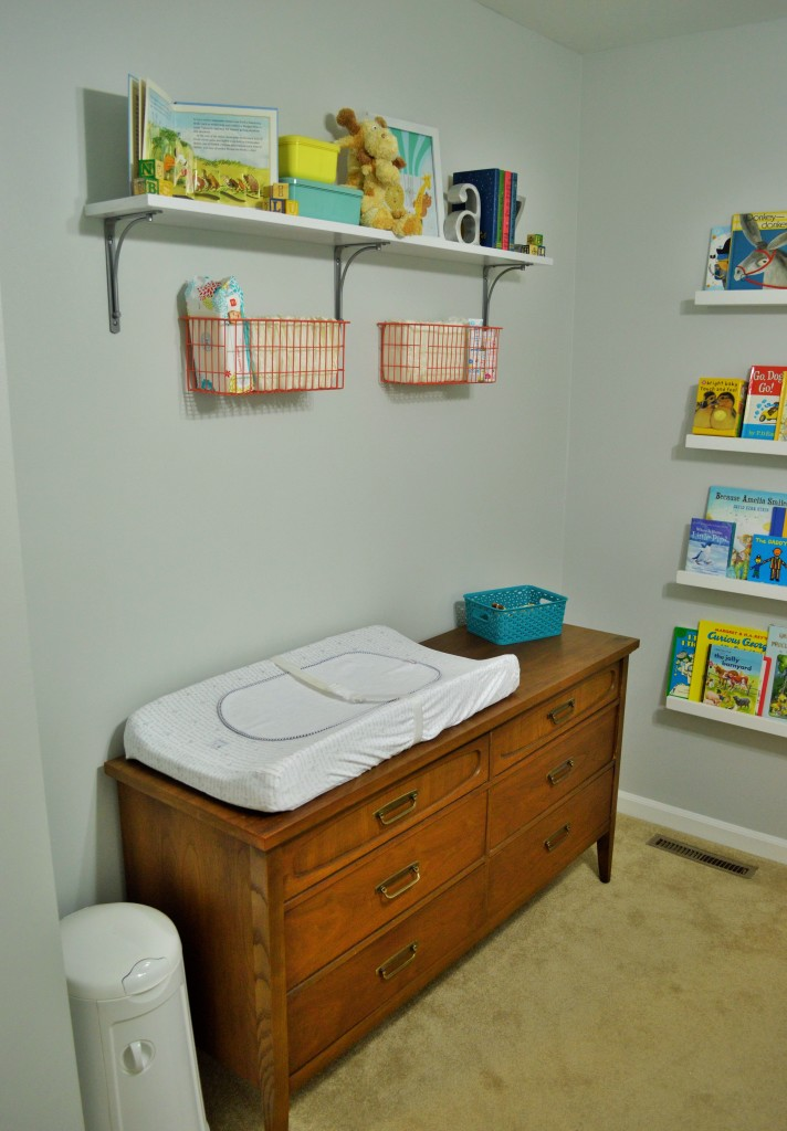 Nursery Changing Area Shelves and Baskets