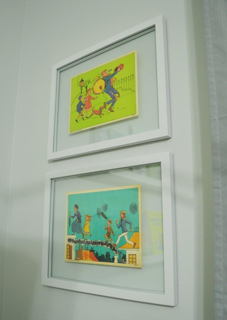 Nursery Vintage Mary Poppins prints framed