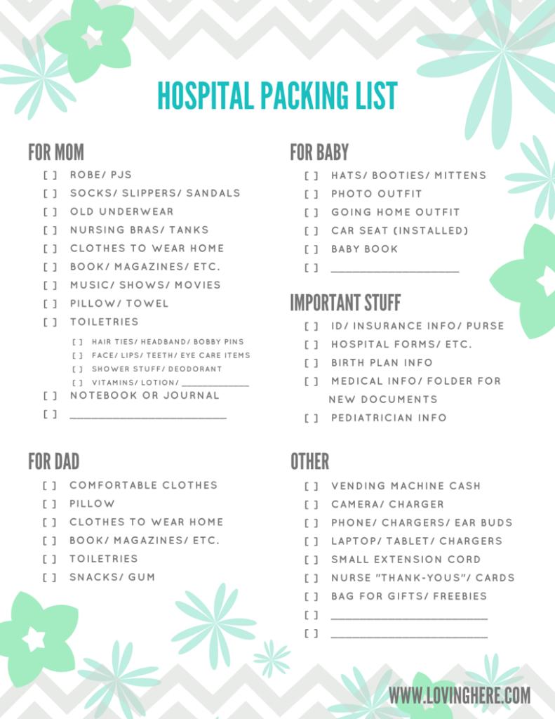 hospital packing list printable blue flowers