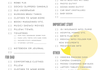 hospital packing list printable duck design