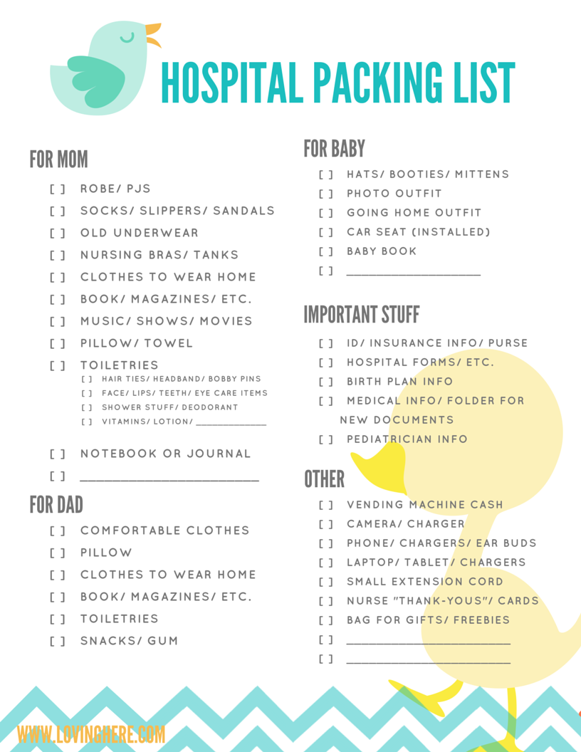 graphic about Printable Hospital Bag Checklist referred to as My Clinic Packing Listing - Totally free PRINTABLE - Loving Right here