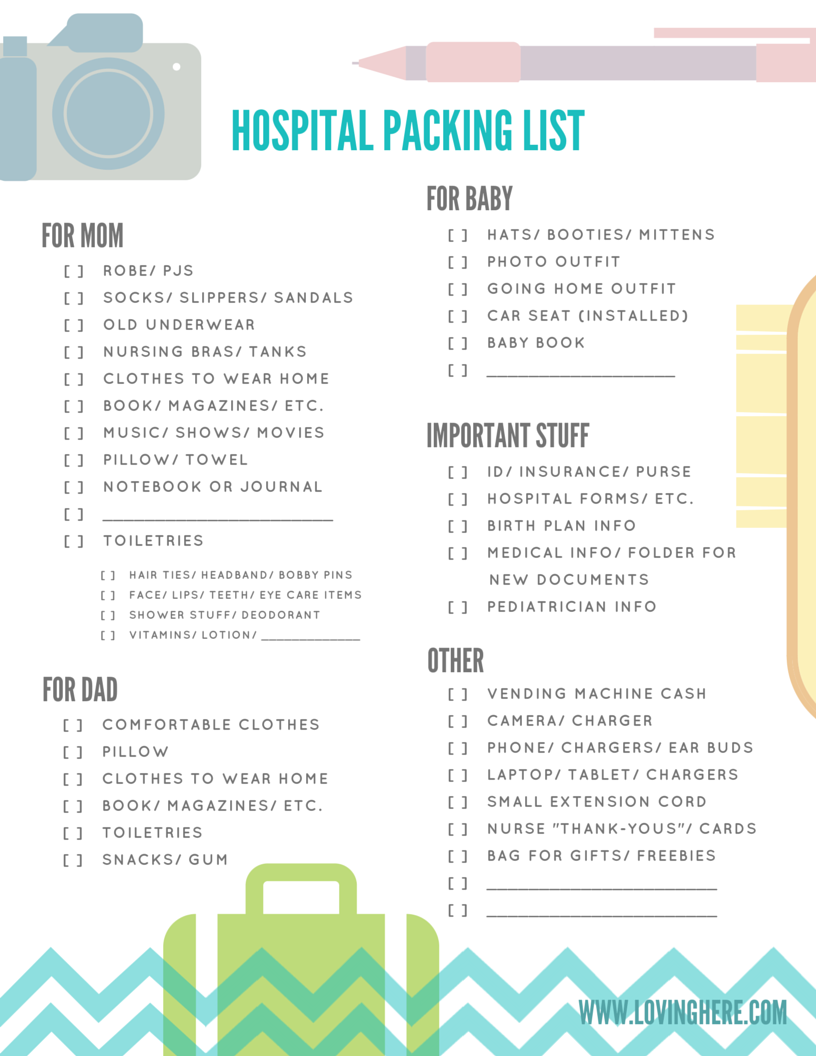 my hospital packing list - free printable
