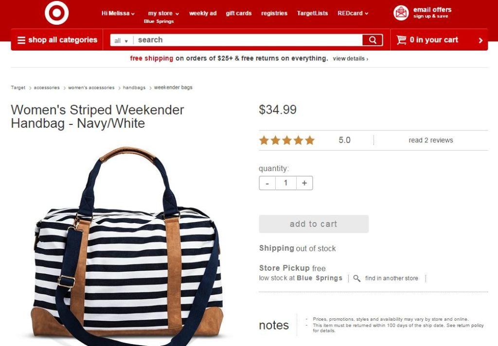 target weekender hospital bag