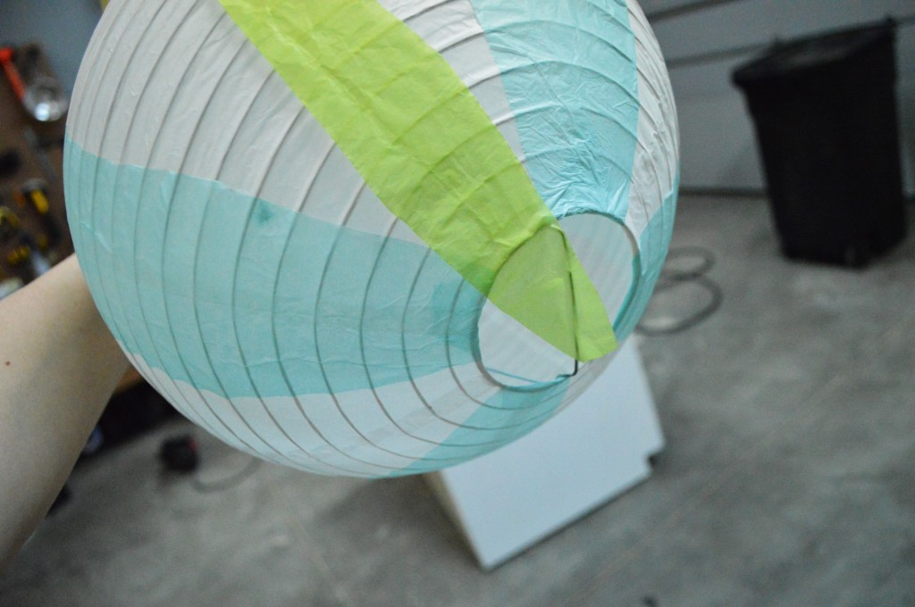 DIY Mini Hot Air Balloon Attaching Tissue Paper Stripes 3