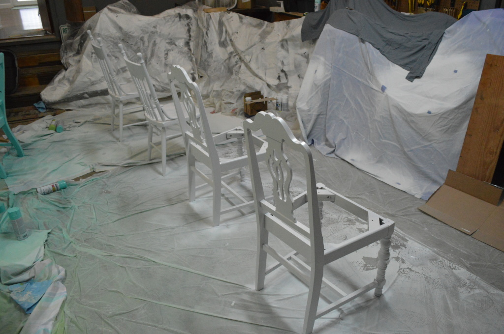 Painting Dining Room Chairs in Garage