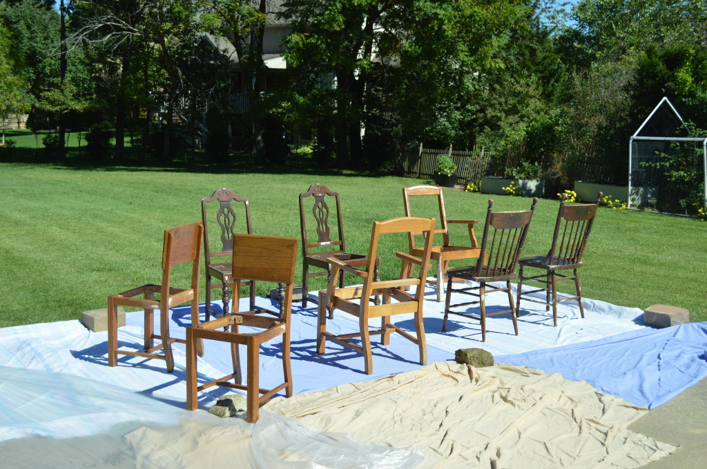 Prepping Chairs for Paint Outside