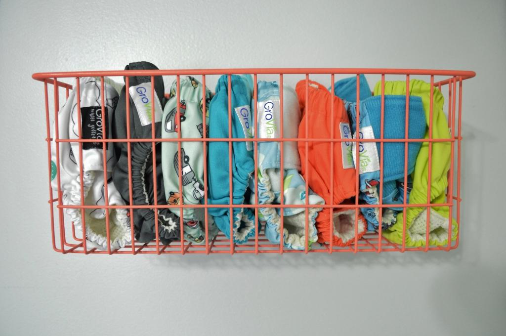 Cloth diaper storage Grovia stash in wall basket