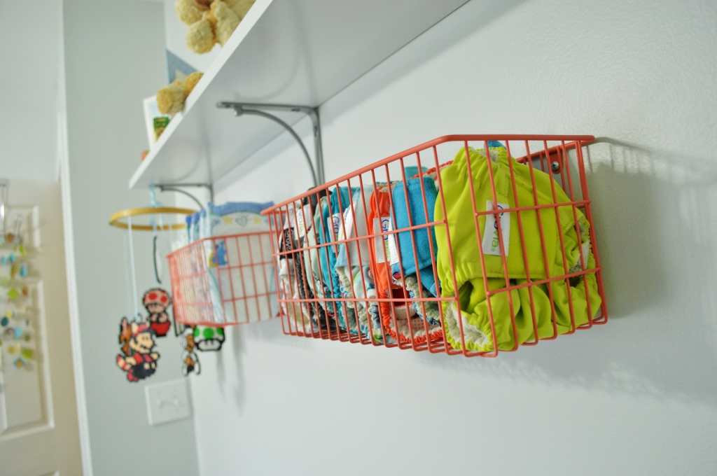 Cloth diaper storage Grovia stash in wall basket 2