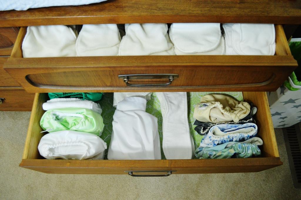 Cloth diaper storage in dresser