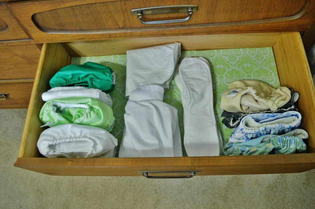Cloth diaper storage in dresser 2