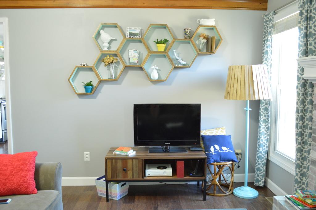 DIY Honeycomb Shelves Living Room