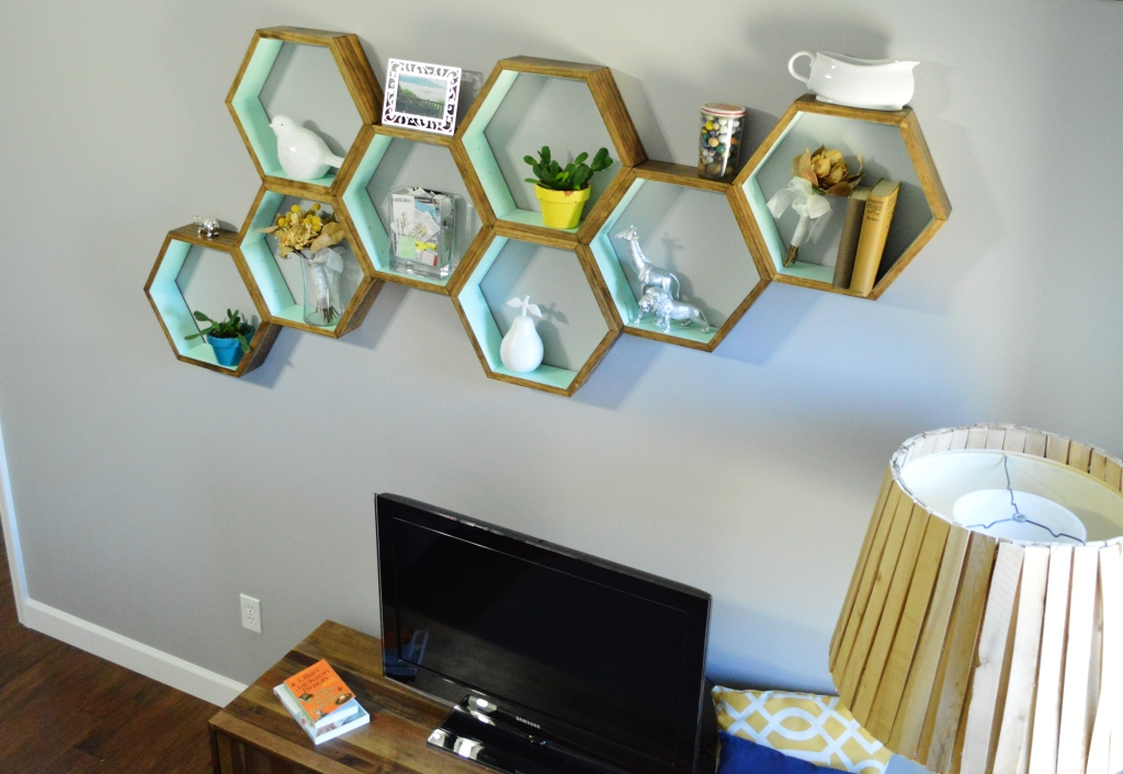 DIY Honeycomb Shelves Living Room Decor 3
