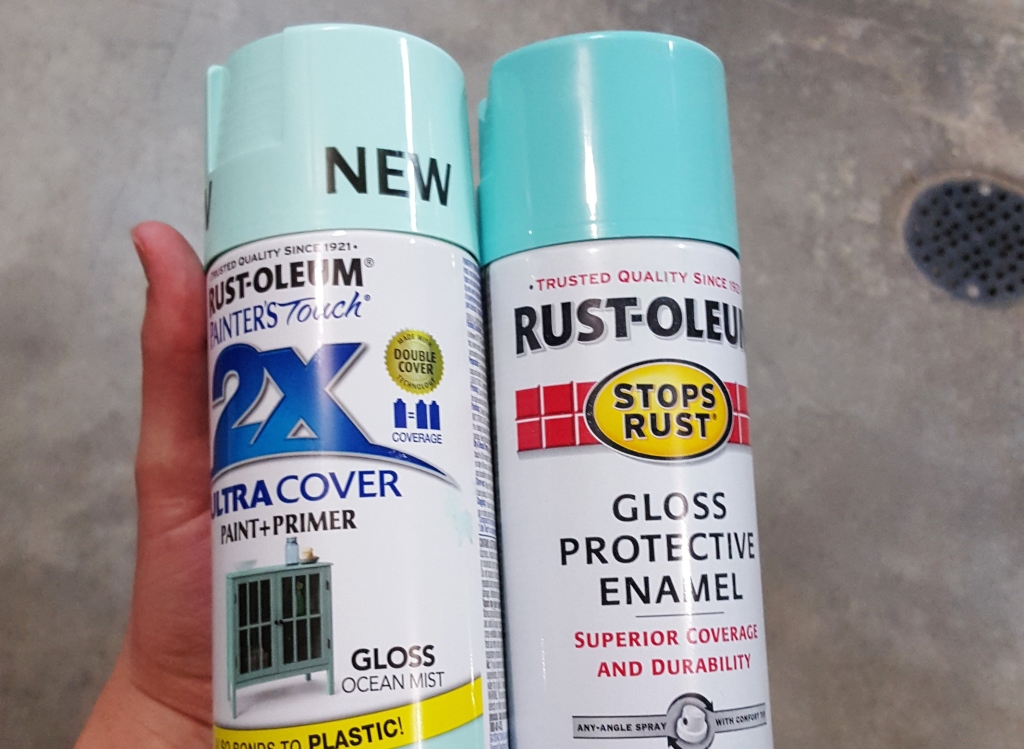 Rustoleum ocean mist spray paint with light turquoise enamel
