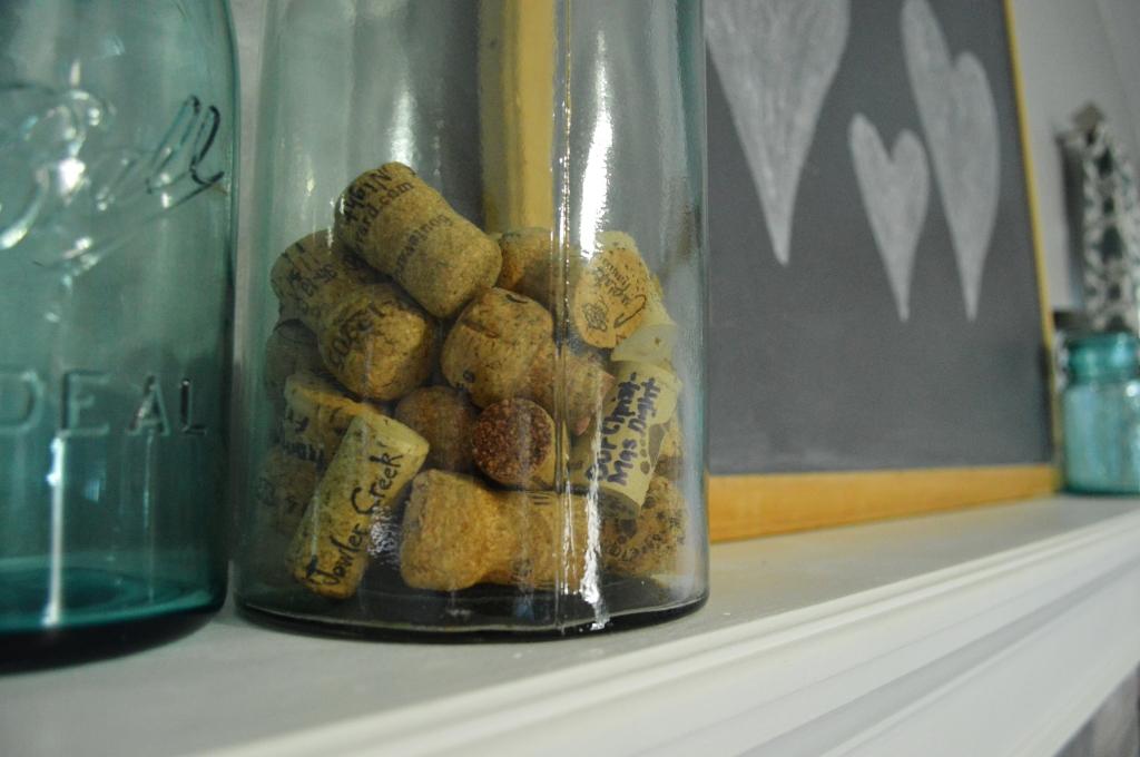 Valentine decor cork memory jar