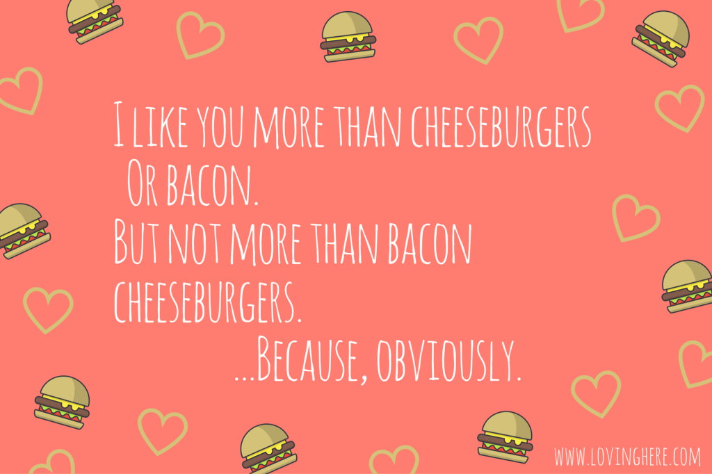 bacon cheeseburger - free printable valentine card for guys