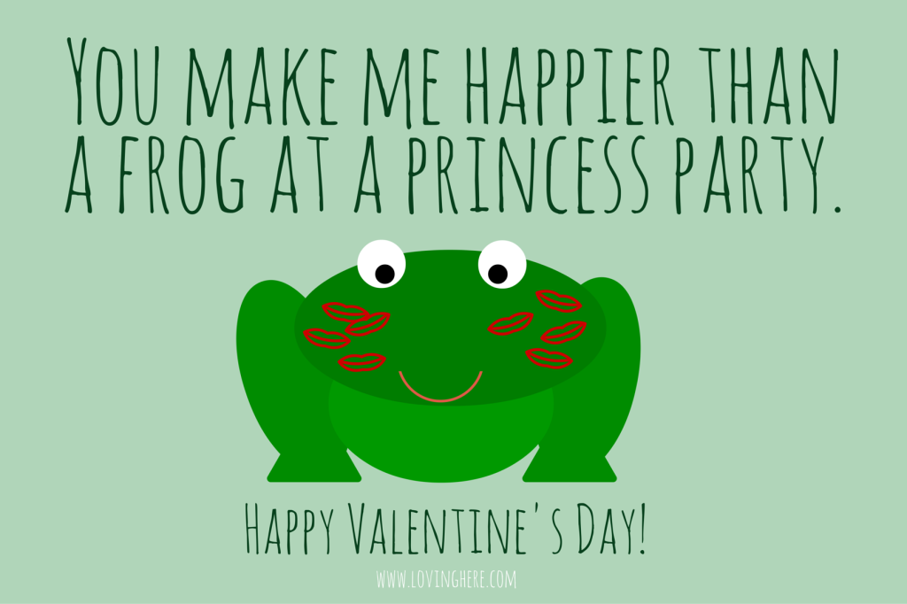 frog at a princess party - free funny printable valentine
