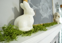 2016 Easter Decor Living Room Bunny on Mantle