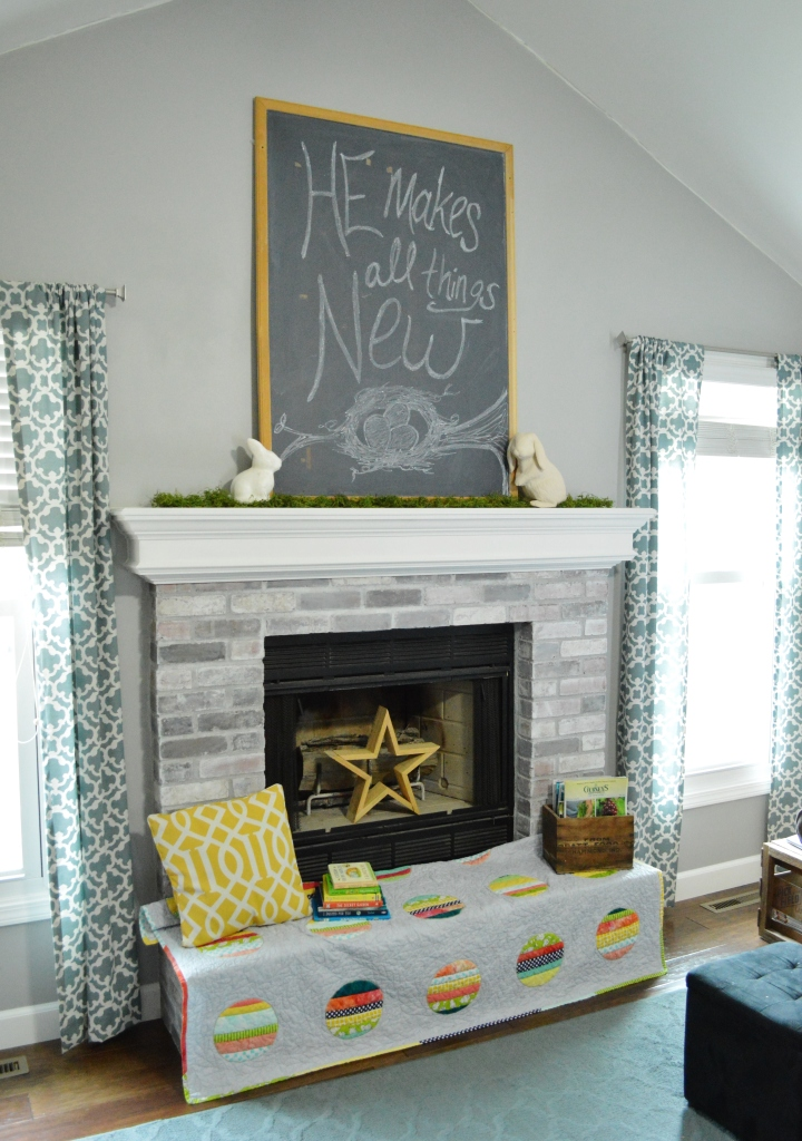 2016 Easter Decor Living Room Chalkboard Mantle
